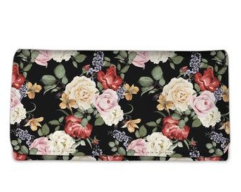 Floral Rose Clutch Purse with strap, Clutch Wristlet, Woman's Wallet, Wristlet Wallet, Wallet Cell Phone, Wallet Purse