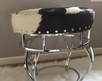 Chrome and Genuine Cowhide Vanity Stool/Footstool