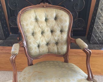 Customizable In Cowhide Antique French Chair
