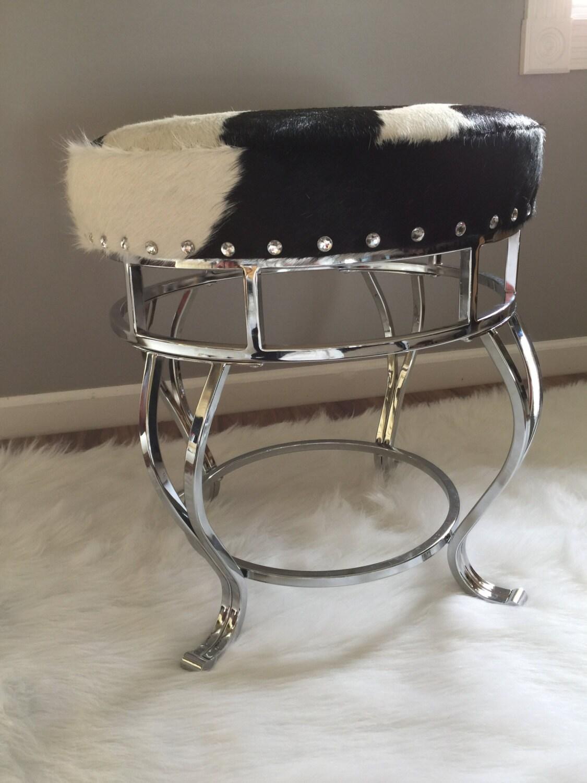 Chrome And Genuine Cowhide Vanity Stool Footstool Etsy