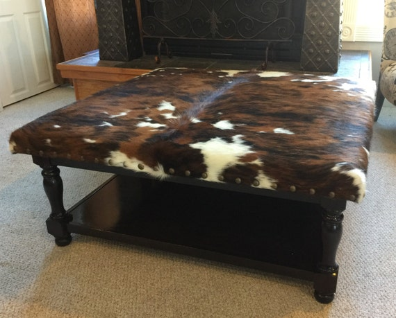 Fantastic Custom Build Cowhide Ottoman Coffee Table Foot Stool Unemploymentrelief Wooden Chair Designs For Living Room Unemploymentrelieforg