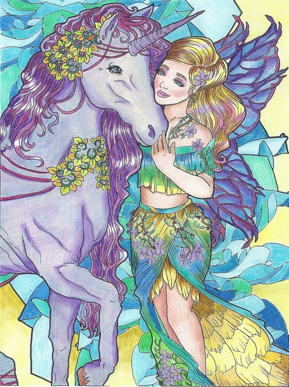 - Magical Unicorns And Fairies: Adult Coloring Book Unicorn Etsy
