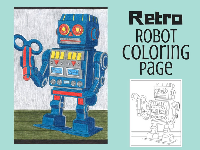 Kleurplaten Robots Afdrukken.Retro Robot Kleurplaat Kleurplaat Pagina Afdrukbare Instant Download Volwassene