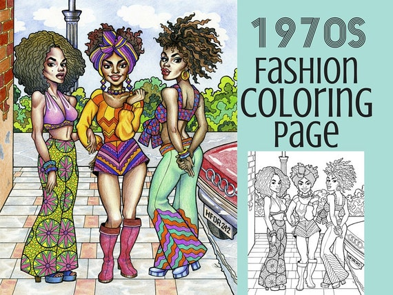 Coloring Page 1970s Fashion Coloring Book Printable Etsy