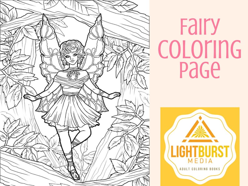Fairy Coloring Page-Fantasy Coloring Page Printable Instant | Etsy