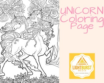 Unicorn Coloring Page-Fantasy Coloring Page- Printable- Instant Download