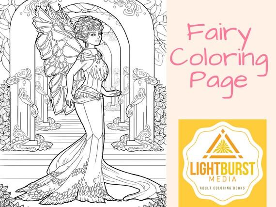Hadas para colorear página fantasía para colorear página   Etsy
