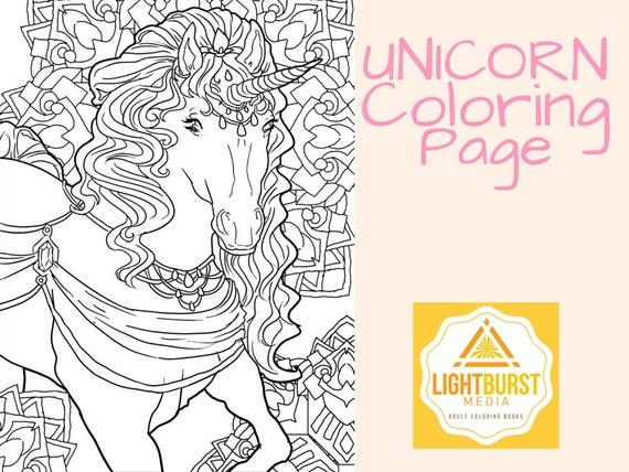 Unicorn Coloring Page Fantasy Coloring Page Printable Etsy