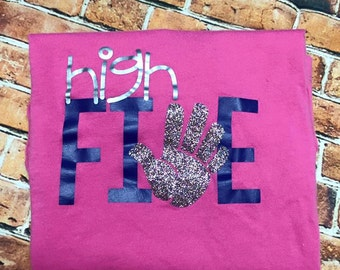 High FIVE birthday shirt/ 5th birthday shirt/ Birthday shirt/ Five birthday shirt/ Personalized birthday shirt