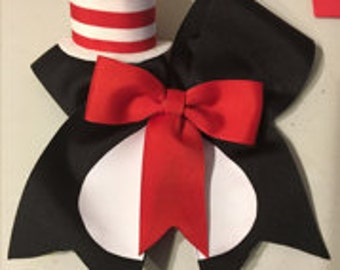 Cat In The Hat inspired cheer bow