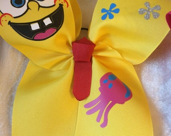 Spongebob inspired cheer bow