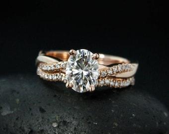 Forever One Moissanite Engagement Ring - Oval Moissanite - Twisted Diamond Wedding Band