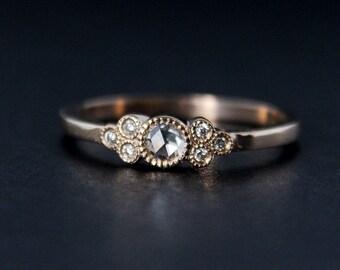 c48c32485 Rose Gold Art Deco Rose Cut Diamond Engagement Ring - Vintage Inspired Hand  Milgrain Wedding Ring - 14K Rose Gold