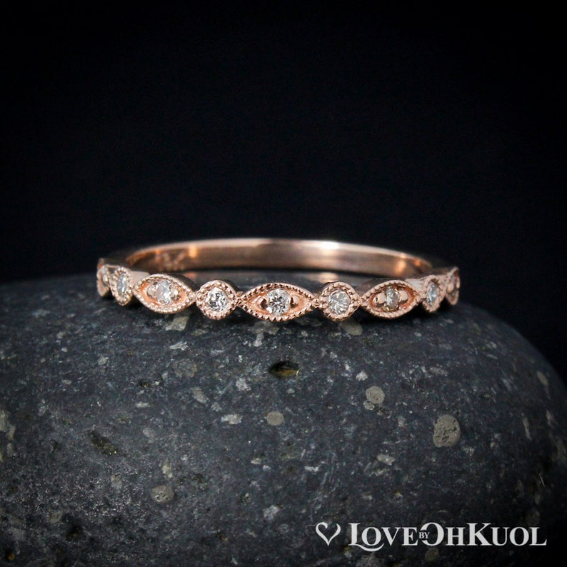 e6c0a2f5f07 Rose Gold Diamond Wedding Band Milgrain Leaf   Round