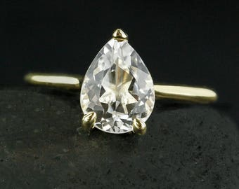 Gold White Topaz Teardrop Ring - Modern Engagement Ring - Choose Your Setting
