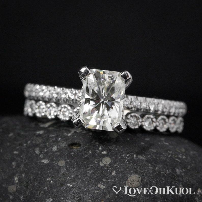 Wedding Set  Radiant Cut Engagement Ring  Forever Brilliant image 1