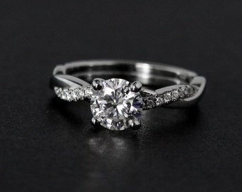 White Gold Forever One Round Brilliant Cut Colorless Moissanite Engagement Ring, Twisted Band Ring