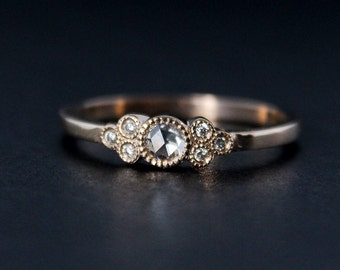 Rose Gold Art Deco Rose Cut Diamond Engagement Ring - Vintage Inspired Hand Milgrain Wedding Ring - 14K Rose Gold