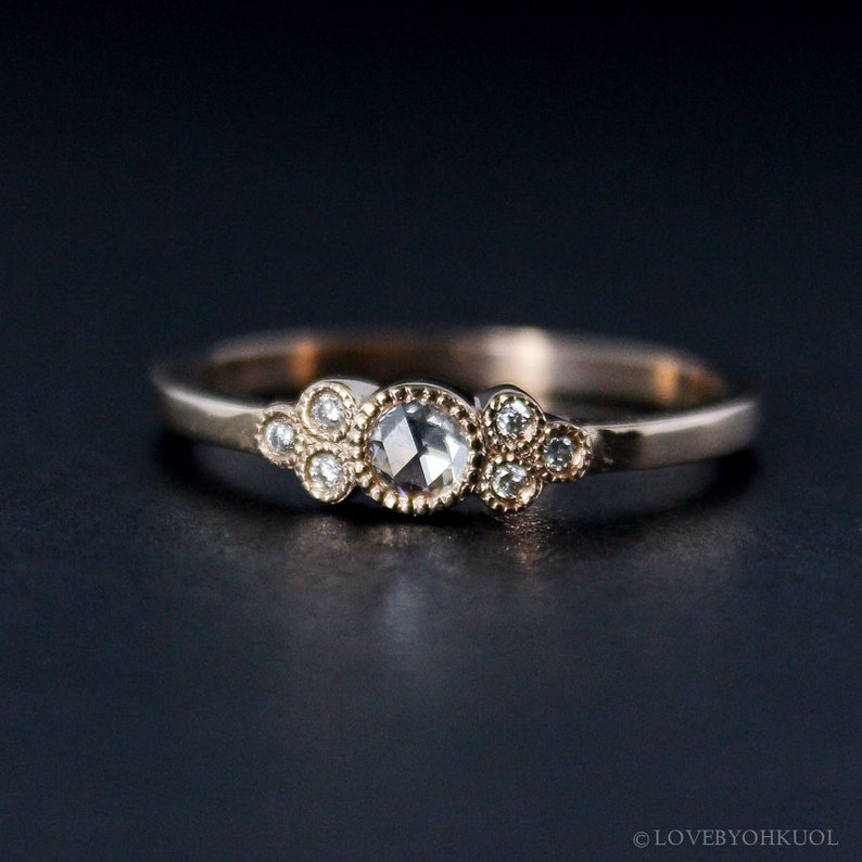 Rose Gold Art Deco Rose Cut Diamond Engagement Ring  Vintage image 0