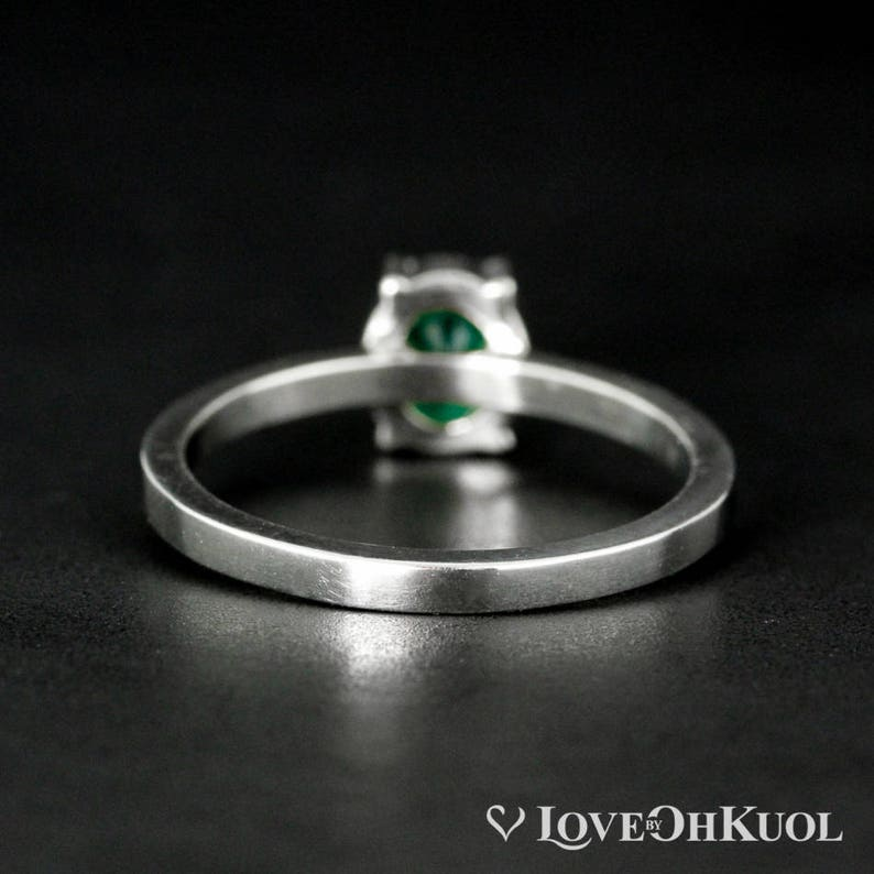 White Gold Oval Green Emerald Ring May Birthstone Emerald Engagement Ring