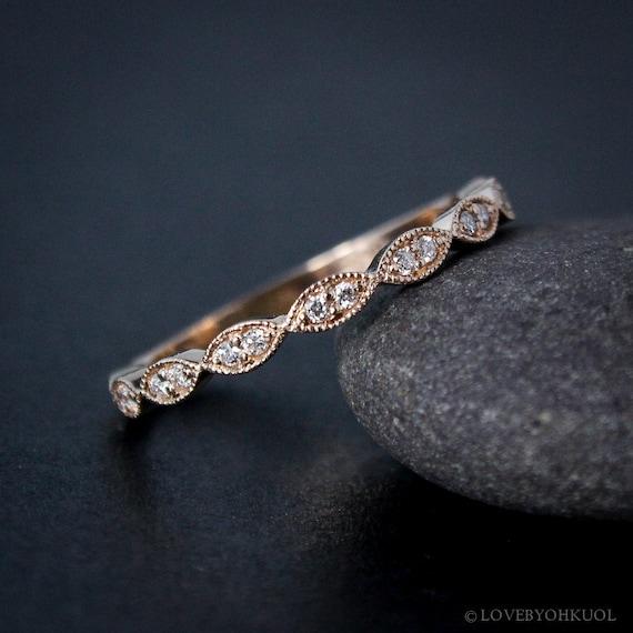 cbf08955223 Rose Gold Wedding Band Double Diamond Milgrain Leaf Wedding Band