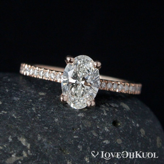 Rose Gold Oval Brillant Cut Diamant Verlobungsring Prong Etsy