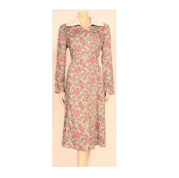 ORIGINAL 70's Dress, Vintage Long Sleeved Pink and