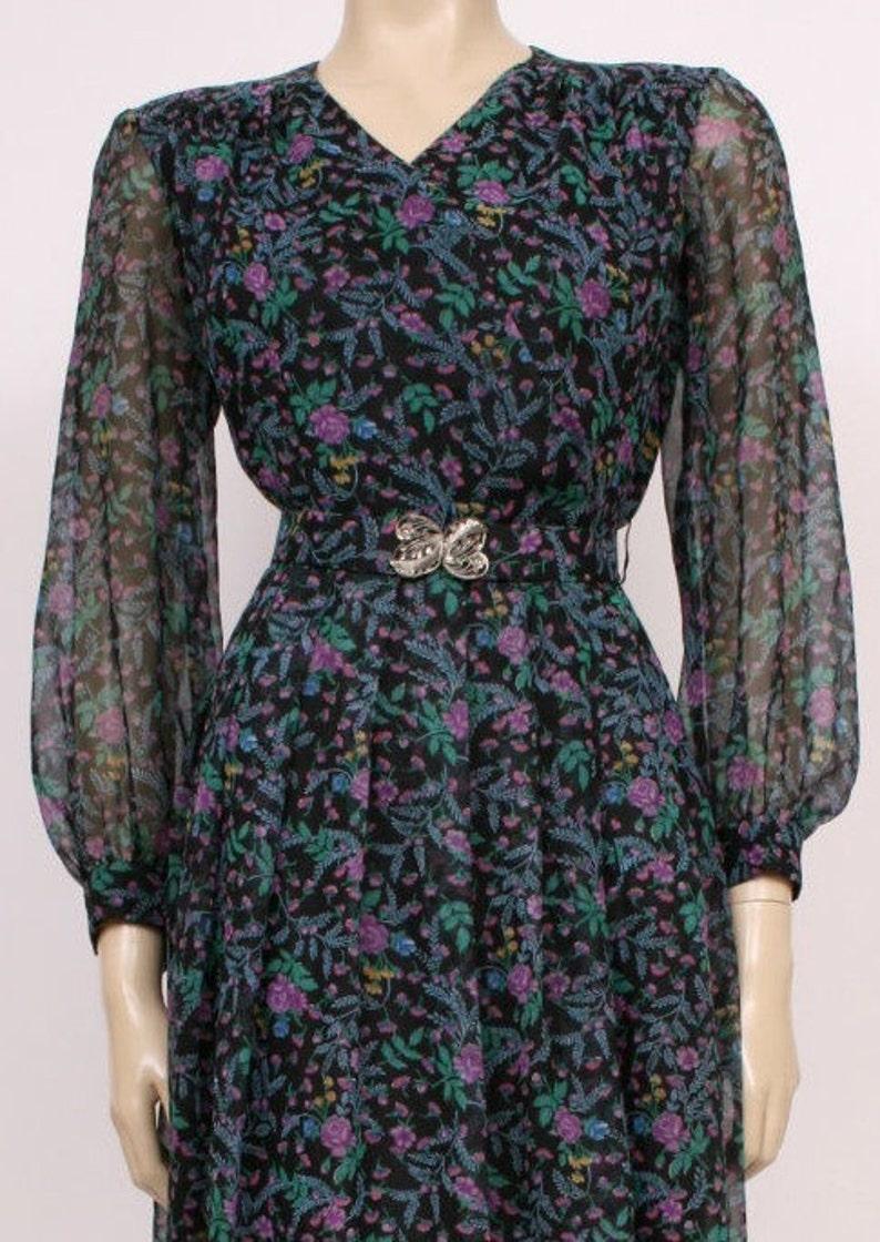 Bohemian Dress Purple and Green Floral Prairie Folk Dress ORIGINAL 70/'s Vintage Long Sleeved Black Hippy Dress Tea Dress Vintage Dress