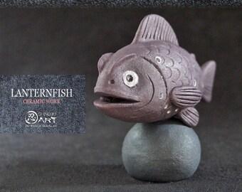 Ceramic Mini Lanternfish, Bioluminescent Deep Sea Fish, Kawaii Hand-built Ceramic Art, Desk Accessories