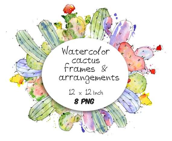 Watercolor Cactus Clipart Frame Border Cactus Arrangement