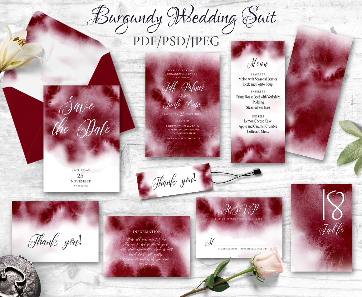 Burgundy Wedding invitation template Printable invitation | Etsy