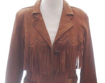 Vintage 70s Fringe Leather Jacket Coat Festival Suede Fringe Leather Jacket Pioneer Wear Brown Tan Southwestern Boho