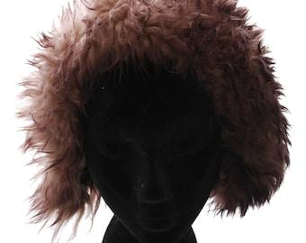 Sheepskin Sheep Fur Yeti Shearling Sherpa Vintage 60s-70s Fur Cap Hat  Beanie Warm Brown Small S Medium M Apres Ski 1dff89eb1f3