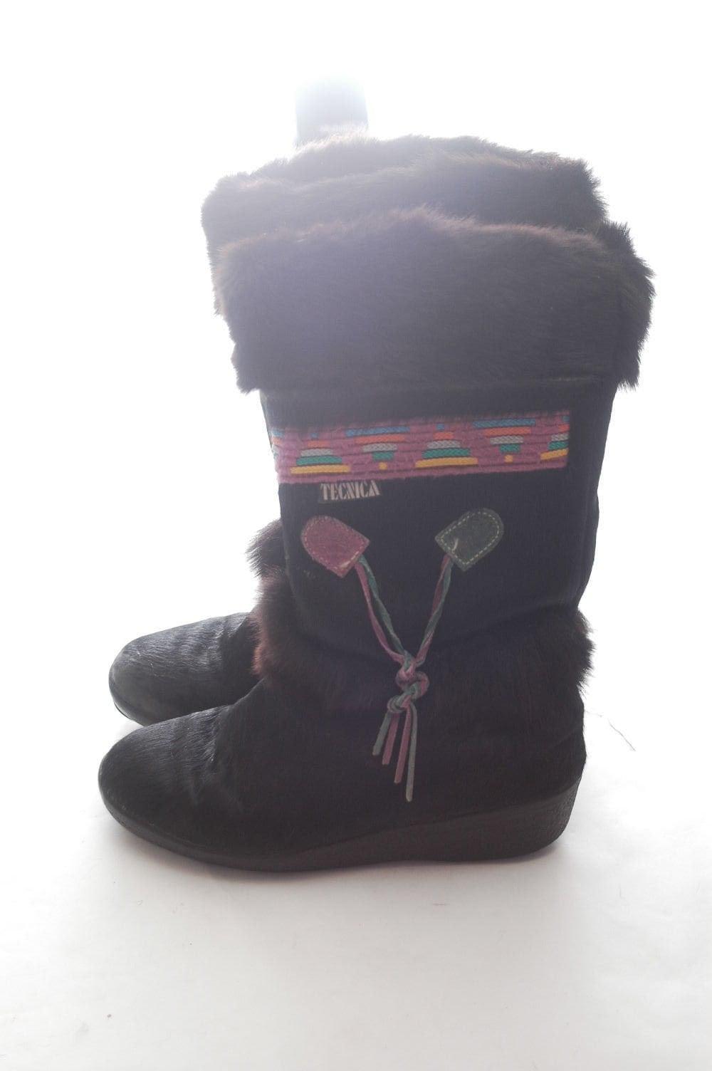 TECNICA 1990s 90s Snow Real Goat Fur Leather Snow 90s Apres Ski Boots Bohemian Boho Southwestern Aztec Winter Warm EU 38 US 7 7.5 Fur Shoes 67649f