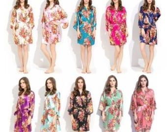 Floral Bridesmaid Robes, Free Personalized Initials, Bridal Robes, Kimono Robes, Satin Robes,  Bride Robes, Bridal Party Robes, Wedding Robe