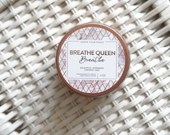BREATHE QUEEN, 6-oz. Travel Tin, Wooden Wick Candle with Eucalyptus & Lavender