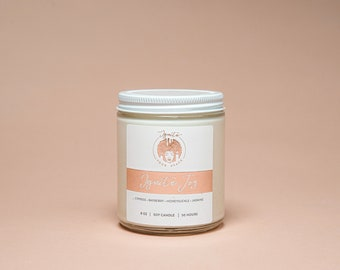 IGNITE JOY, 8-oz, Soy Candle with Honeysuckle Jasmine, Hand Poured, Affirmation Candle, Cleansing Candle, Gift Her, Home Decor