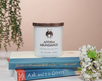AFFIRM ABUNDANCE, 9-oz. Soy Candle with Amber and Black Cherry, Hand Poured, Affirmation Candle, Cleansing & Spiritual Candle, Gift For Her