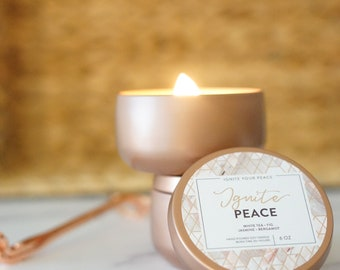 IGNITE PEACE, 6-oz. Travel Tin, Wooden Wick Candle with White Tea, Hand Poured, Affirmation Candle, Cleansing & Spiritual Candle, Home Decor