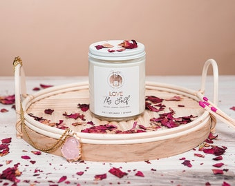 LOVE THY SELF, 8-oz. Soy Candle with Jasmine & Tonka Bean (Vanilla), Hand Poured, Affirmation Candle, Cleansing Candle, Gift For Her