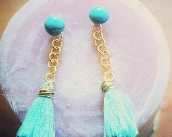Blue Turquoise Tassel Stud Earrings