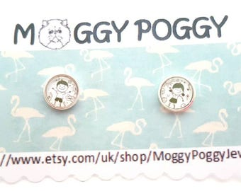 Sterling Silver Small 8mm brother and sister son and daughter boy and girl stud earrings