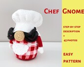 Chef Gnome pattern, crochet birthday gift for mom, amigurumi tomte nisse, kitchen decor