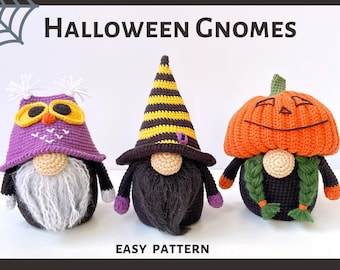 Halloween Gnomes Set, Crochet patterns  Pumpkin, Owl and Witch pdf