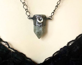 Electroformed labradorite crystal with waxing crescent moon necklace, celestial jewelry, Crystal moon necklace
