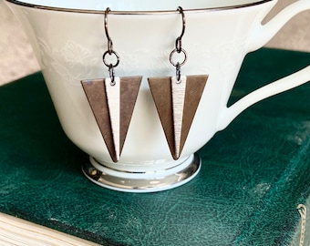 Mixed metal triangle earrings, brass and silver earrings, triangle earrings