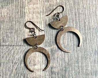 Brass crescent moon earrings,  celestial earrings,