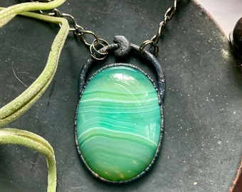 Green agate necklace, crescent moon gemstone necklace, Electroformed agate moon necklace