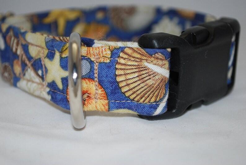 Seashell dog collar Beach dog collar pet collar starfish martingale collar greyhound collar Blue dog collar nautical