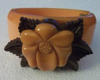 Very Rare Bakelite Vintage Butterscotch Carved Clamper Bracelet